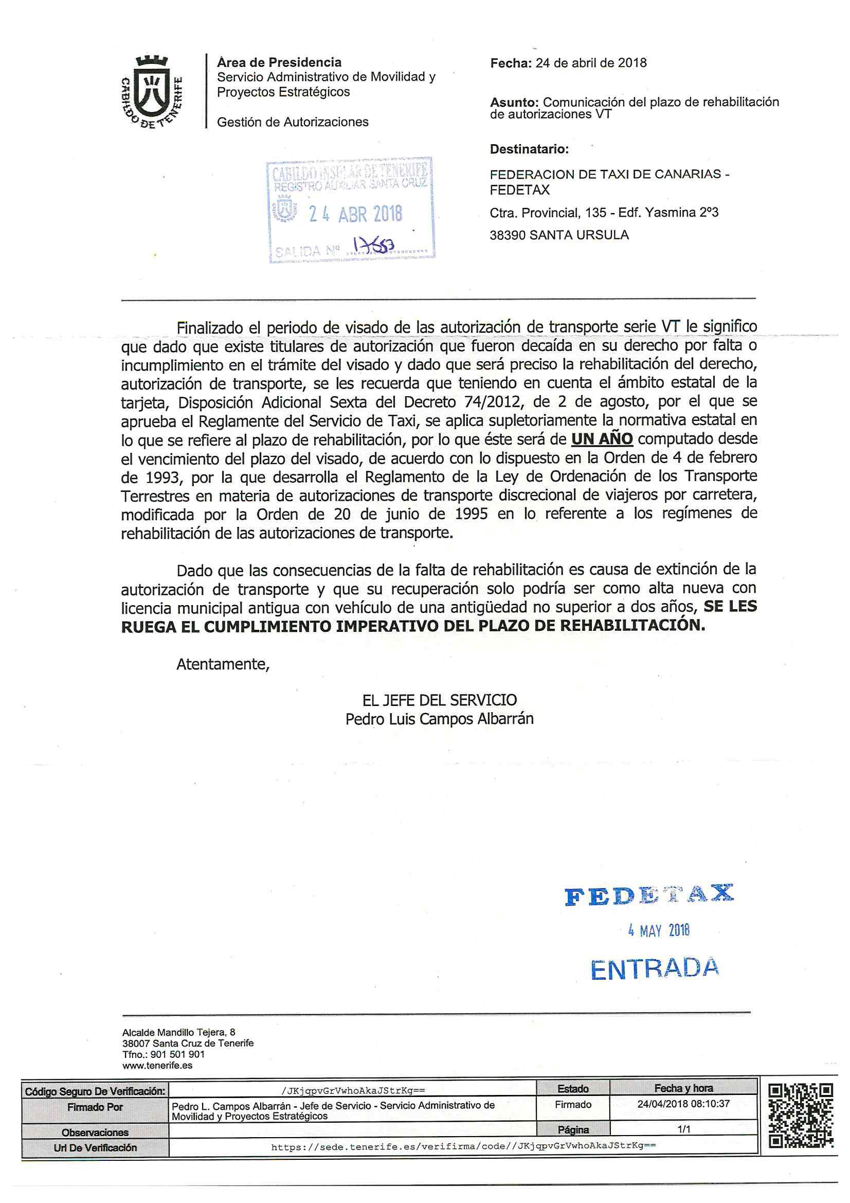 CABILDO DE TENERIFE NOTIFICACION TARJETAS VT
